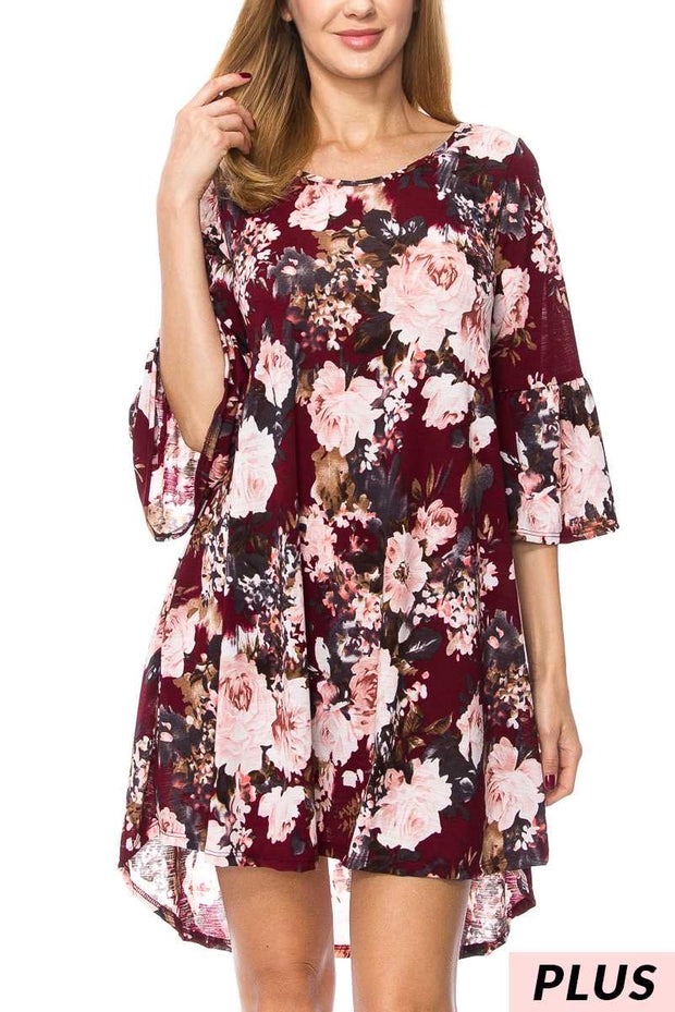 PQ-N (Into You) Burgundy Floral Printed Dress PLUS SIZE 1X 2X 3X