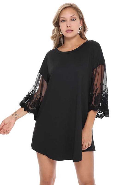 SSS-M (Who's That Girl ) Solid Black With Sheer Lace Sleeves PLUS SIZE 1X 2X 3X