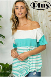 63 CP-I {Ocean Breeze} Teal & White Stripe Contrast Top PLUS SIZE XL 2X 3X