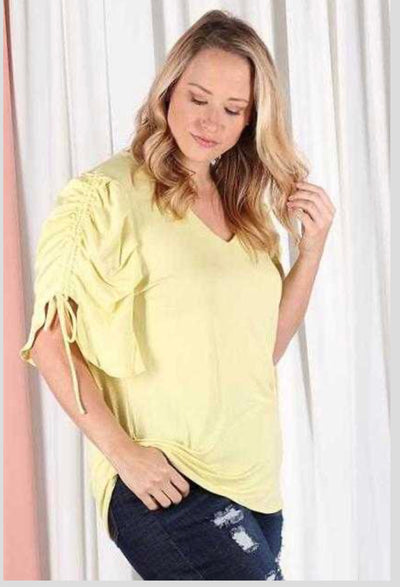 62 SSS-C {Daring Vision} Yellow Top with Drawstring Sleeves PLUS SIZE XL 2X 3X