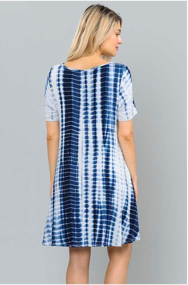 PSS-O {Better Things} Navy Bamboo Tie-Dye Dress W/ Pockets Extended Plus