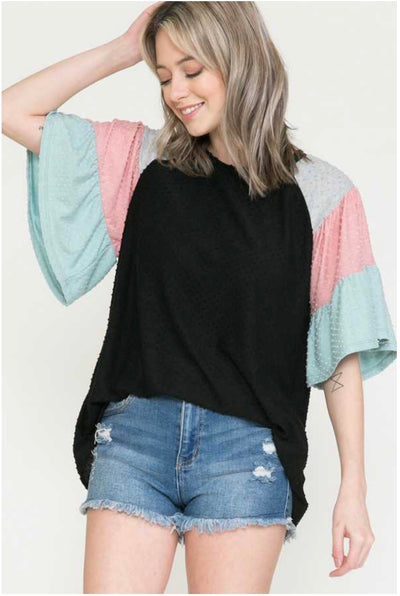 62 CP-D {Daily Divine} Pink/Aqua Layered Sleeve Black Top PLUS SIZE XL 2X 3X