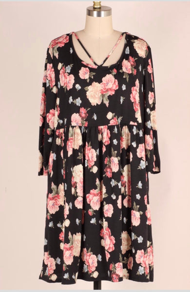 PQ-G {Midnight Love} Black/Pink Rose Floral Babydoll Dress