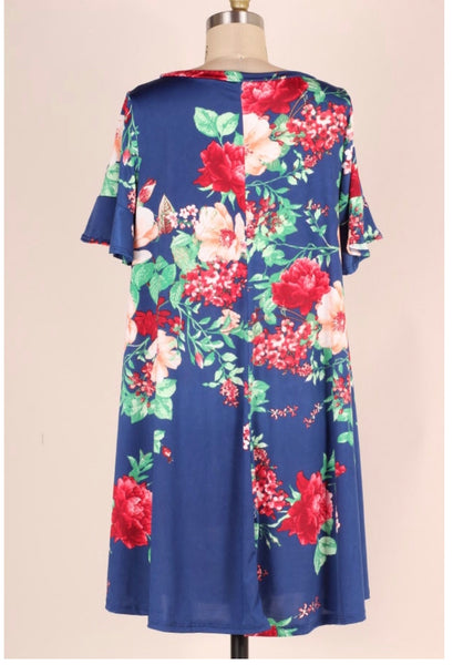 PSS-F {Embrace Me} Loose-Fitting Blue Floral Print Dress