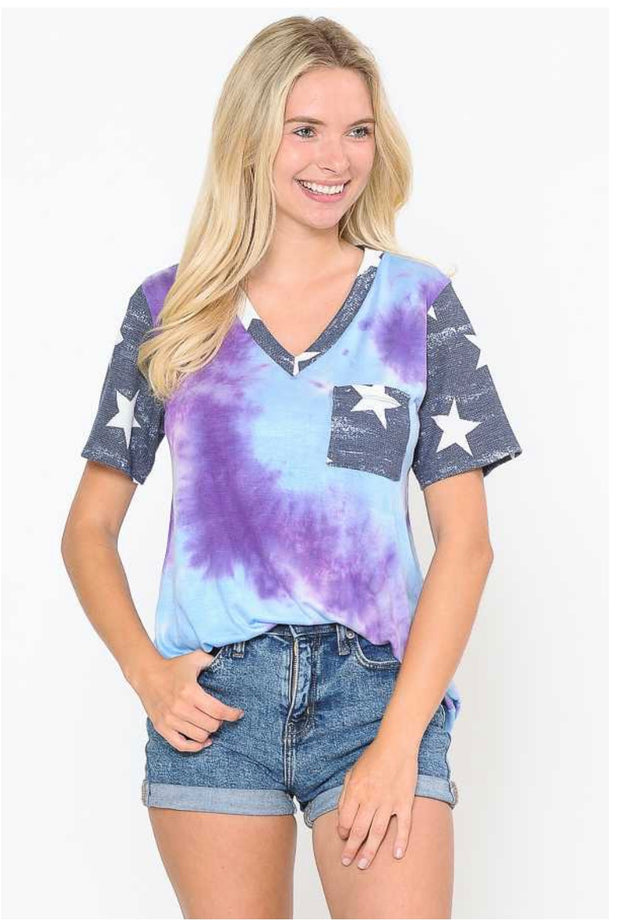 62 CP-B {Yes You Can} Tie-Dye Pocket Top with Star Contrast Plus Size 1X 2X 3X