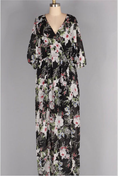 LD-Y {Through It All} Black Floral Dress with Front Slits & Mini Slip