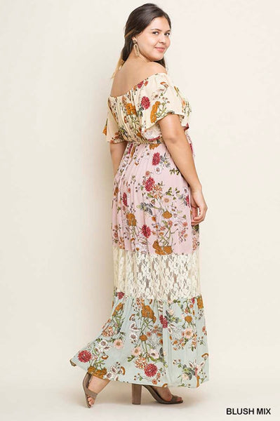 LD-V {Happily Ever After} Floral Tired Dress with Lace Contrast