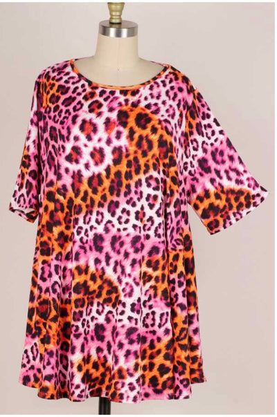 63 PSS-Q {Peaceful Mind} Pink/Orange Leopard Top EXTENDED PLUS SIZE 3X 4X 5X