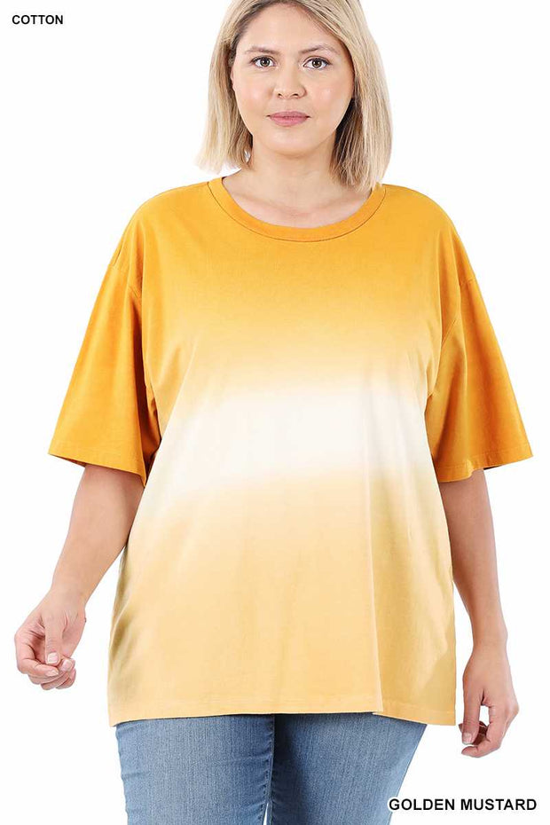 63 CP-F {Repeat After Me} MUSTARD Gradient Dye Top PLUS SIZE XL 2X 3X