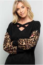CP-L {Fashion's Finest} Black/Leopard Knit Top with Bubble Sleeves Extended Plus
