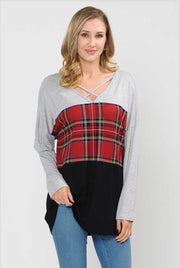 CP-G {Make A Way} Plaid Contrast Top with Criss-Cross Detail Extended Plus
