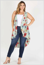 OT-P {Time Of My Life} Sage Green Floral Print Hi-Lo Vest Extended Plus