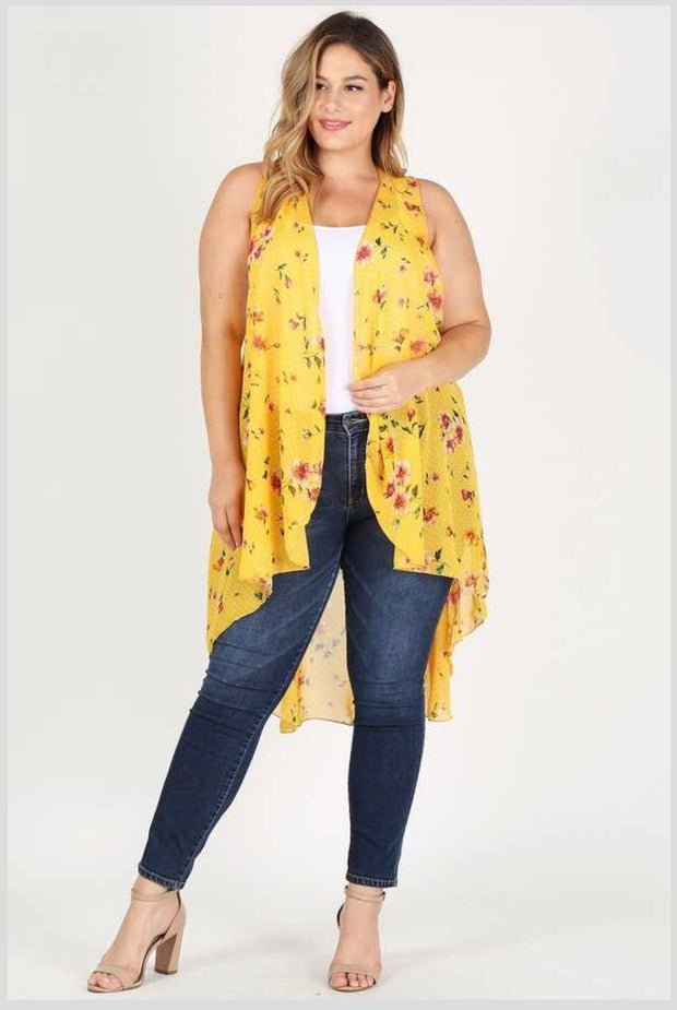 OT-V {Time Of My Life} Yellow Floral Print Hi-Lo Vest Extended Plus