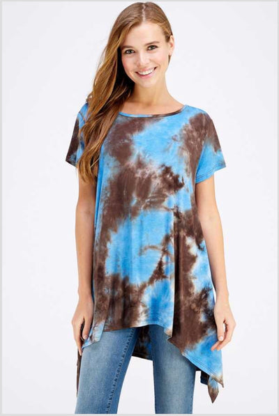 PSS-T {Morning Glory} Asymmetrical Blue Tie-Dye Print Tunic Extended Plus