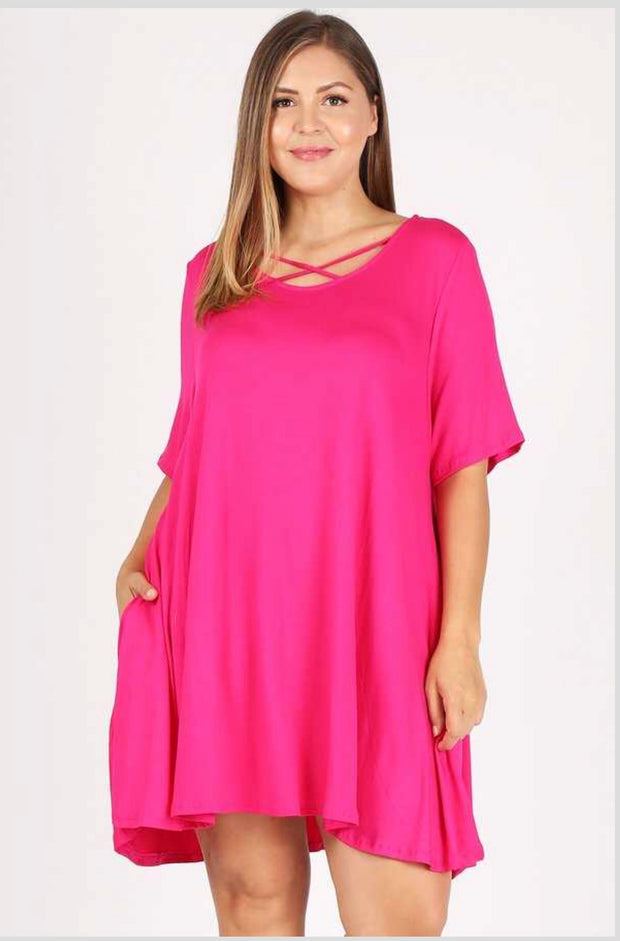 SSS-L {Dream Come True} Hot Pink Dress W/ Criss Cross Detail Extended Plus