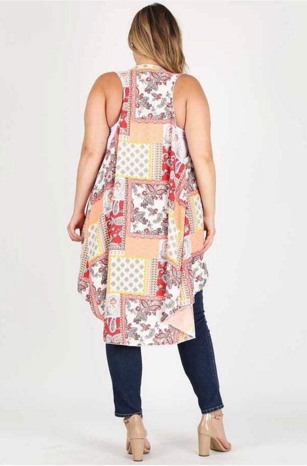 OT-T {Time Of My Life} Floral Patchwork Print Hi-Lo Vest Extended Plus