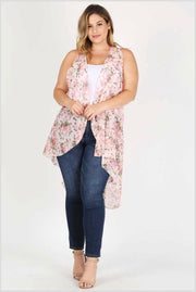 OT-N {Time Of My Life} Blush Pink Floral Print Hi-Lo Vest Extended Plus