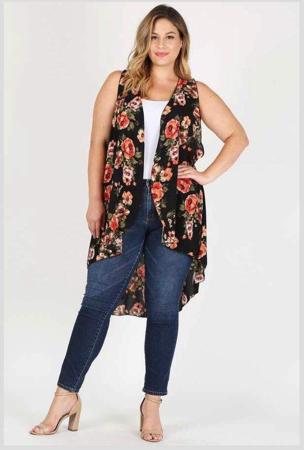 OT-B {Time Of My Life} Black Floral Print Hi-Lo Vest Extended Plus