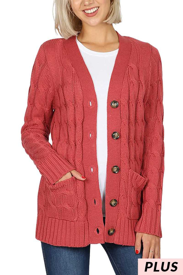 OT-R {Style Obsession} Rose Cable Knit Button Up Sweater  SALE!!