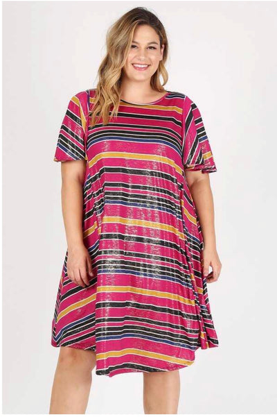 PSS-K {Shiny Happy People} Magenta Striped Dress Extended Plus