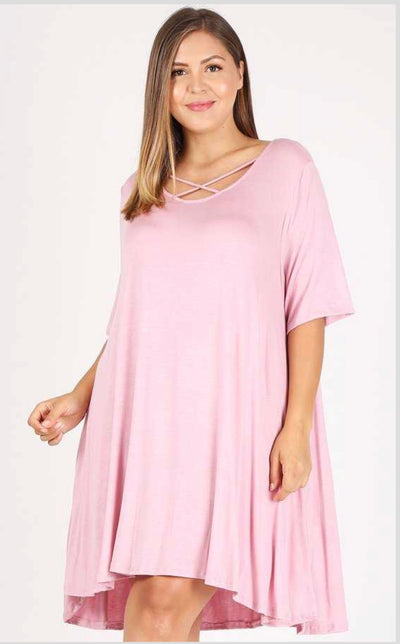 SSS-M {Make Time For Us} Mauve Dress with Criss-Cross Detail Extended Plus