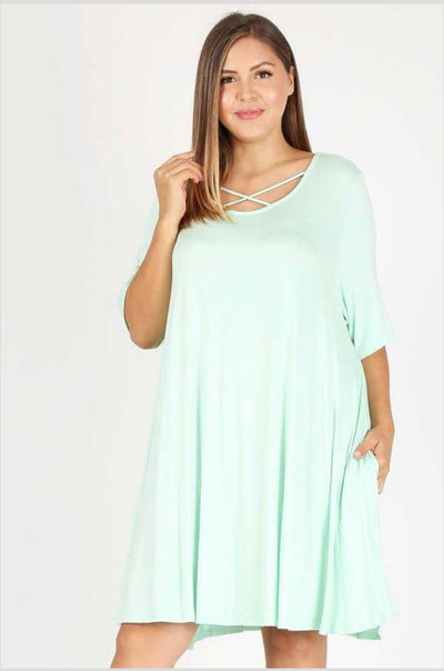 SSS-M {Make Time For Us} Mint Dress with Criss-Cross Detail Extended Plus