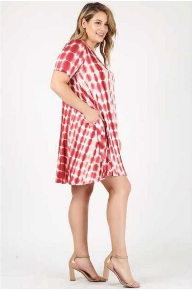 PSS-T {On Stand By} Burgundy Bamboo Tie-Dye Dress W/ Pockets Extended Plus