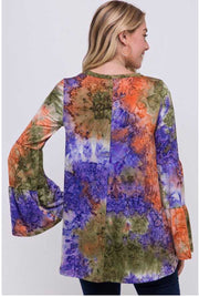 PLS-T {Love It All} Tie-Dye Top with Layered Bell Sleeves Extended Plus  SALE!!