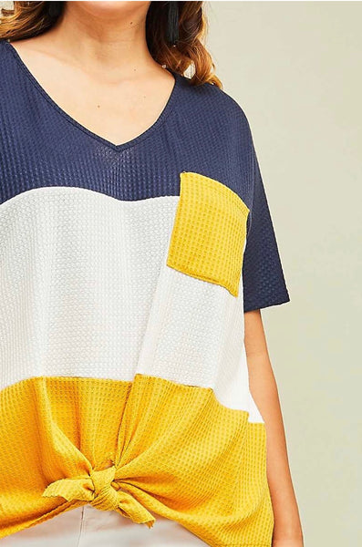 CP-O {Best Example} Contrast Waffle Knit Top w Pocket & Front Tie