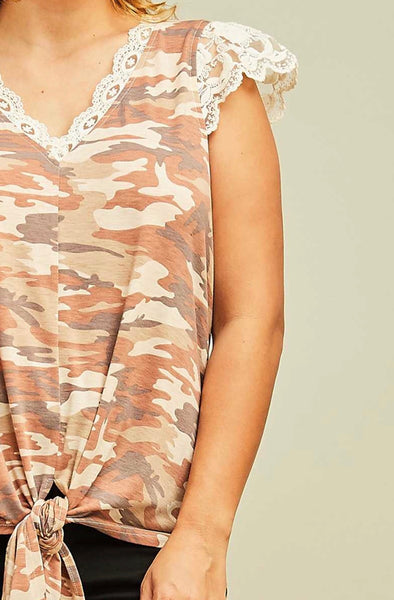 CP-X {Love Letters} Tan Camo Front Tie Top with Lace Detail