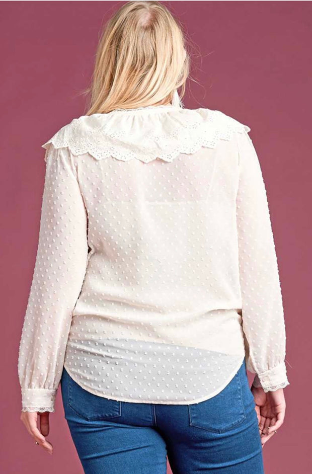 SLS-K {Princess Diaries} Button Front Top w Eyelet Ruffle