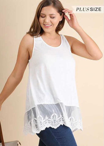 "SV-C {So Trendy} ""UMGEE"" White Top Extender w/Lace"