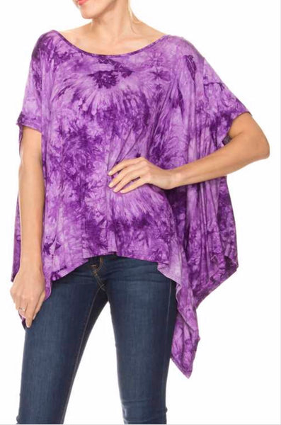 PSS-T {Say You'll Stay} Purple Tie-Dye Asymmetrical Tunic