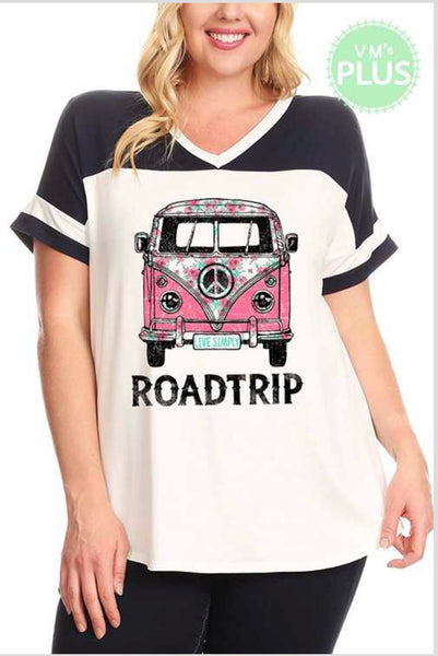 GT-A {ROAD TRIP} White/Navy Top with Hippie Bus