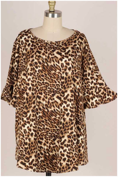 63 PSS-N {Nothing To Hide} Leopard Print Top EXTENDED PLUS SIZE 3X 4X 5X
