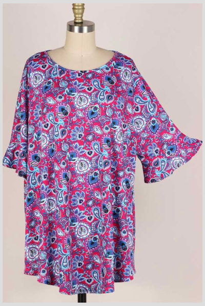 62 PSS-M {Fresh Look} Fuchsia/Blue Printed Top EXTENDED PLUS SIZE 3X 4X 5X