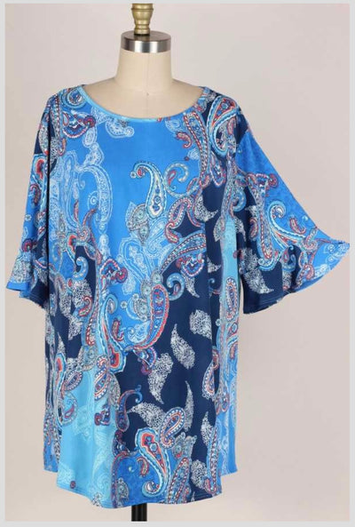 62 PSS-J {Close Call} Blue Paisley Printed Top EXTENDED PLUS SIZE 3X 4X 5X