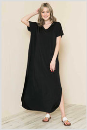 63 LD-A {Living In The Moment} Black V-Neck Maxi Dress EXTENDED PLUS SIZE 4X 5X 6X