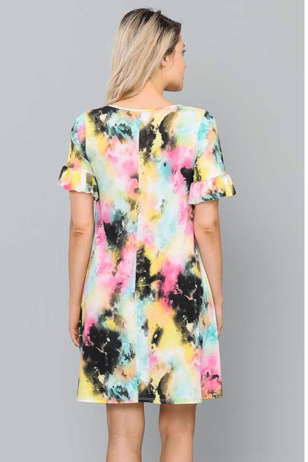 PSS-C {Here's Your Chance} Multi-Tie-Dye Dress with Pockets