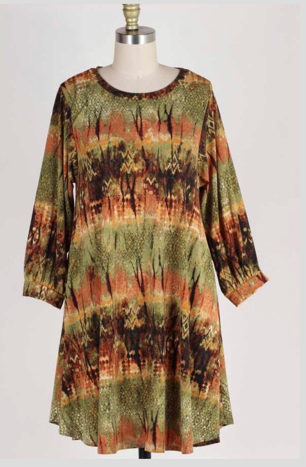 PLS-O {Stay With Me} Olive Earth Tone Printed Dress W/ Pockets Extended Plus