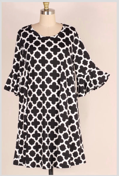 PQ-A {Making Me Dizzy} Black/Ivory Print Dress with Ruffle Sleeves