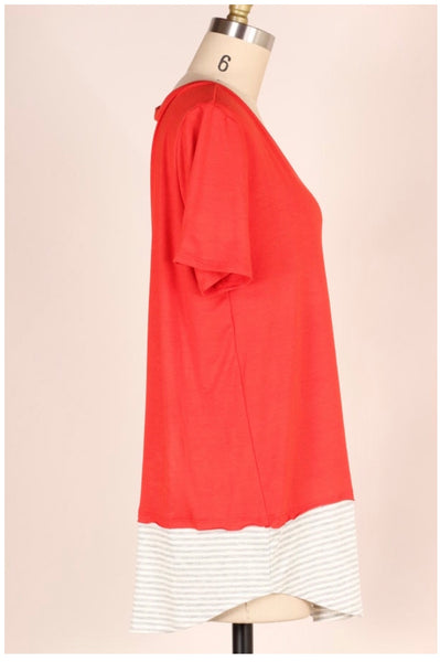 CP-T {Just Sayin'} Red V-Neck Top Gray Striped Contrast Pocket/Hem
