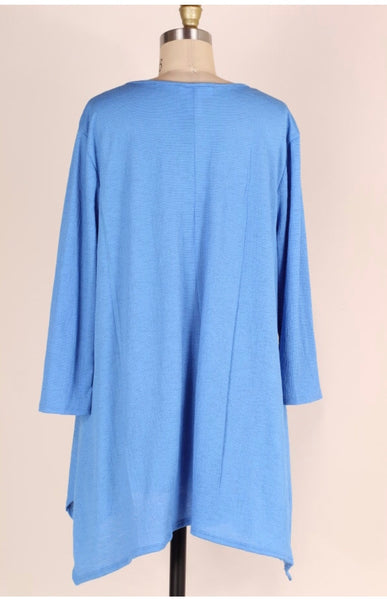 SD-A {Mark My Words} Blue Tunic with Crochet Detail
