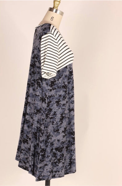 CP-S {Join The Fun} Navy Tie-Dye Tunic Dress with Stripes