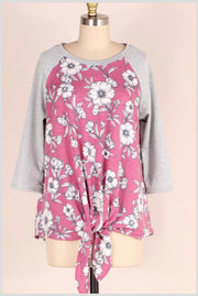 CP-A {Imagine That} Berry/Gray Floral Top with Front Tie