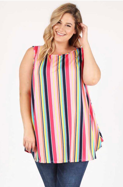 SV-P {Candy Stripes} Multi-Color Striped Tunic Extended Plus