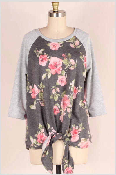 CP-M {Worth My Time} Charcoal Gray Contrast Pink Floral Top