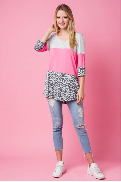 CP-A {Sweet Dreams} Pink Leopard Contrast Top Crochet Back