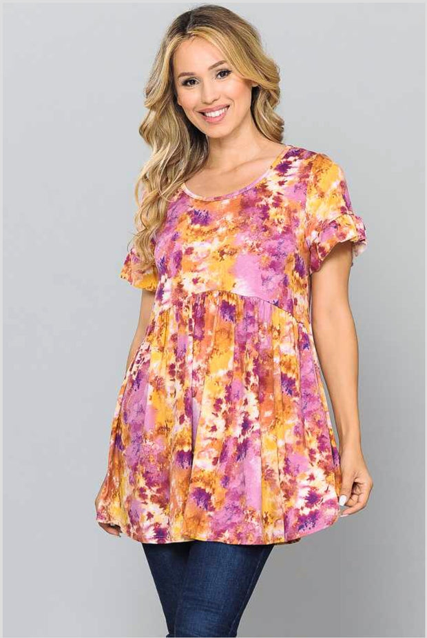 PSS-O {Keep The Faith} Lilac/Mustard Tie-Dye Print Tunic Extended Plus