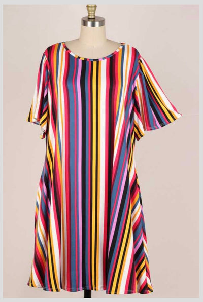 63 PSS-B {Set For Sun} Striped Dress w Pockets EXTENDED PLUS SIZE 3X 4X 5X